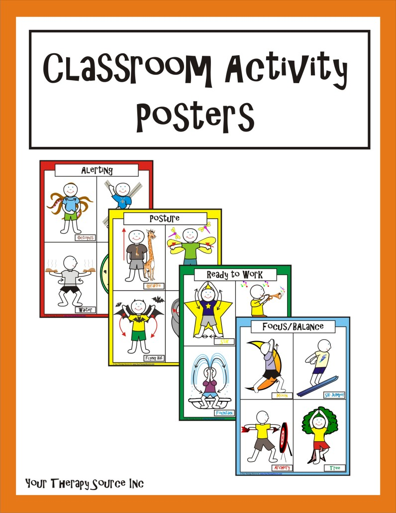 Classroom Activity Posters from http://yourtherapysource.com/cap.html