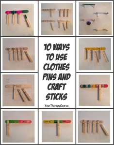 10 ways to use clothes pins and craft sticks fromhttp://www.yourtherapysource.com/freeclothespin