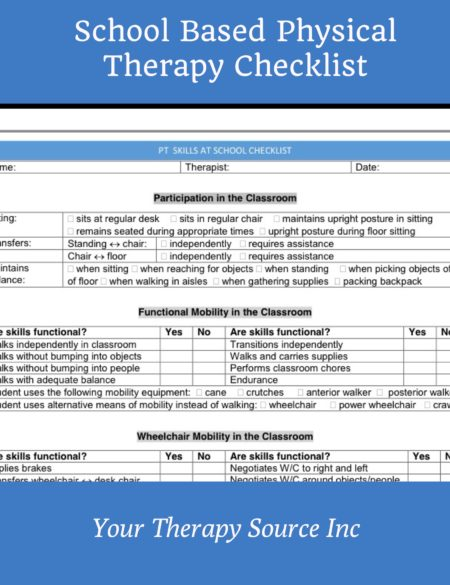 School Based Physical Therapy Checklist