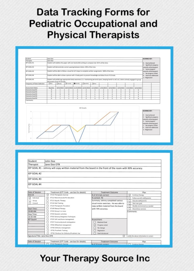 Data Tracking Forms for School Based Occupational and Physical Therapy