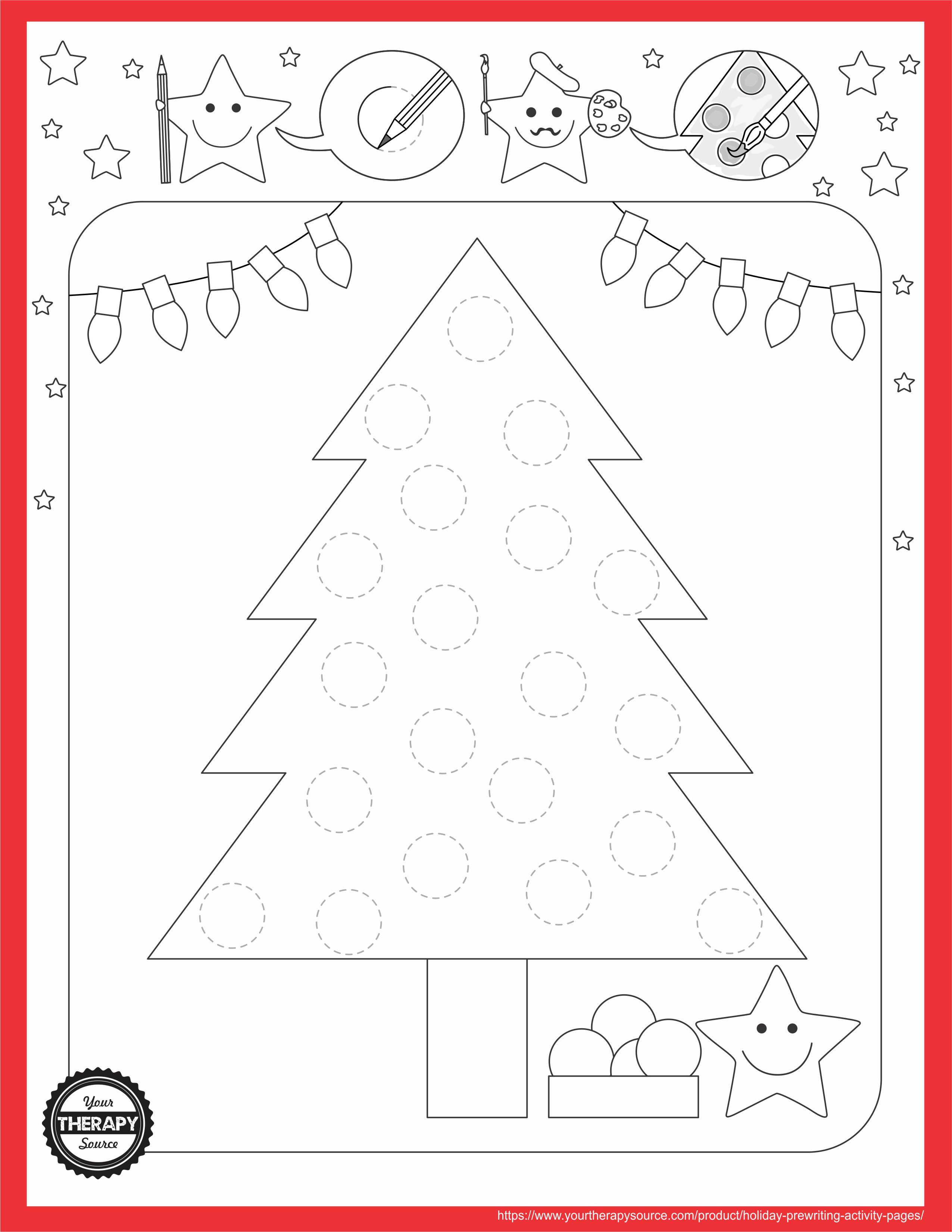 Holiday Tree Prewriting Activity Page - Your Therapy Source