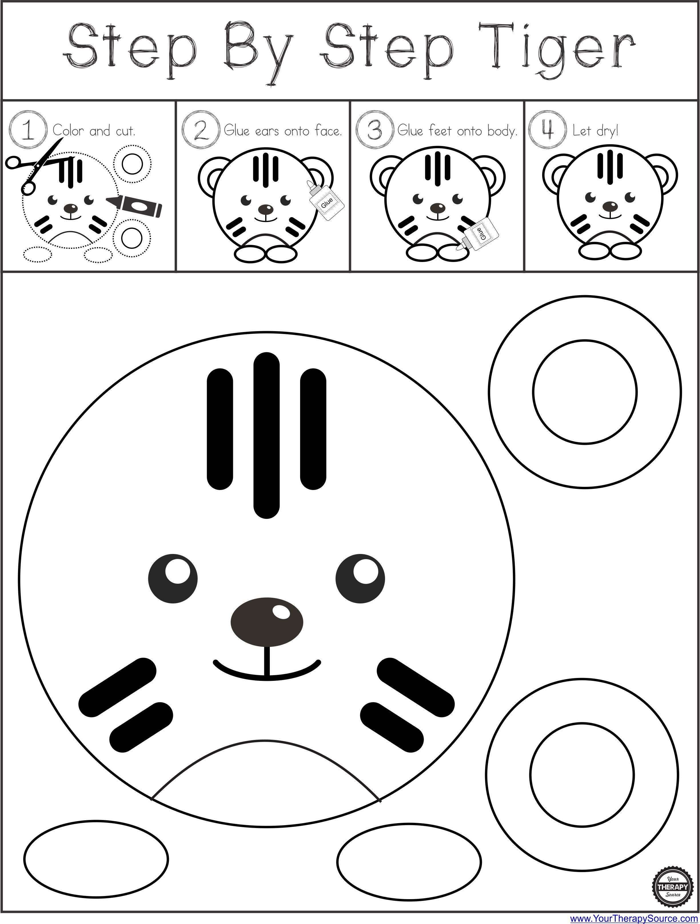 step by step tiger circle scissor project free your therapy source