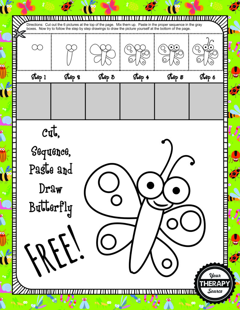 Cut, Sequence, Paste and Draw Bugs and Butterflies Free