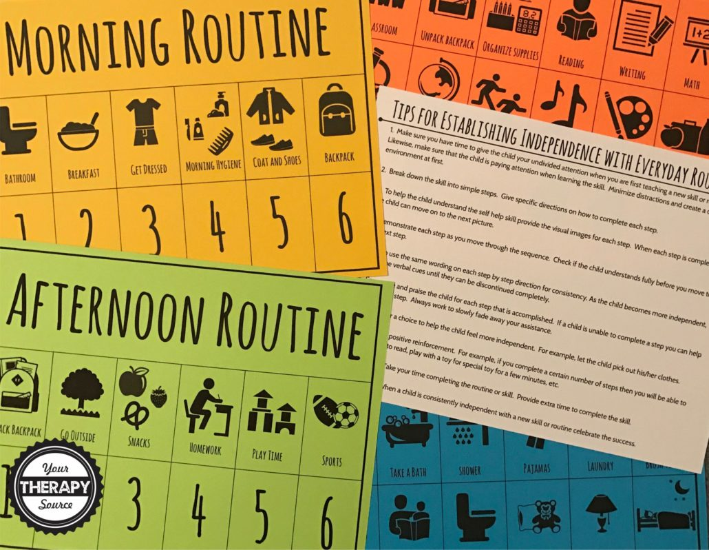 Daily Routine Visual Schedules on Color Paper