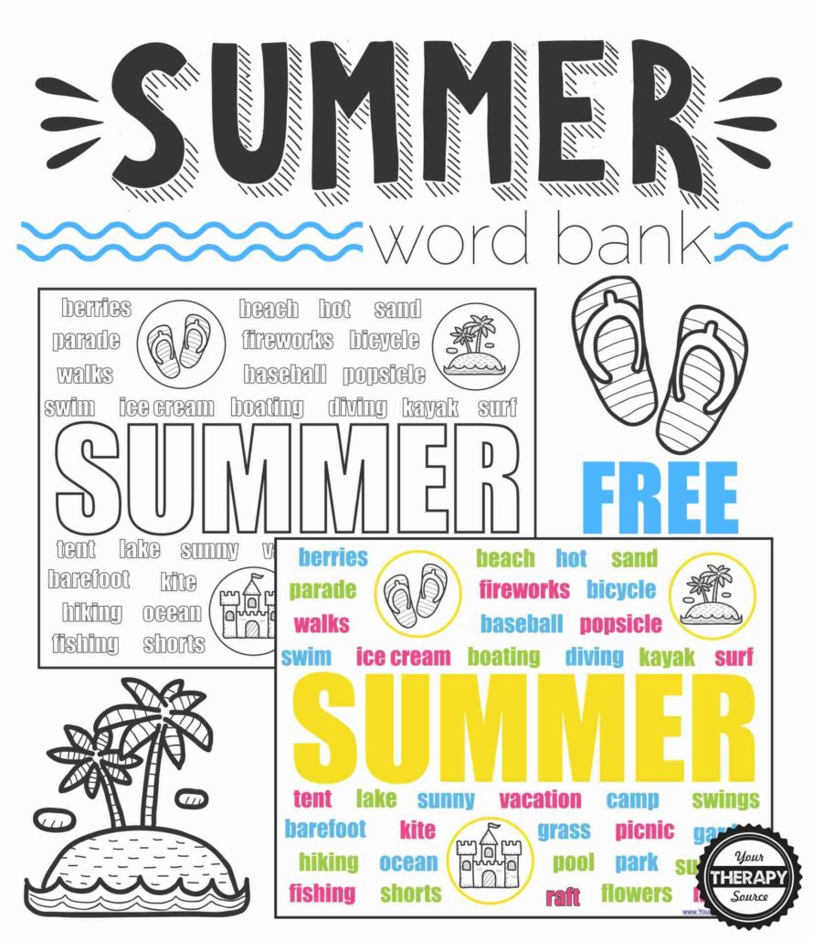 summer word bank collage black and white and color your therapy