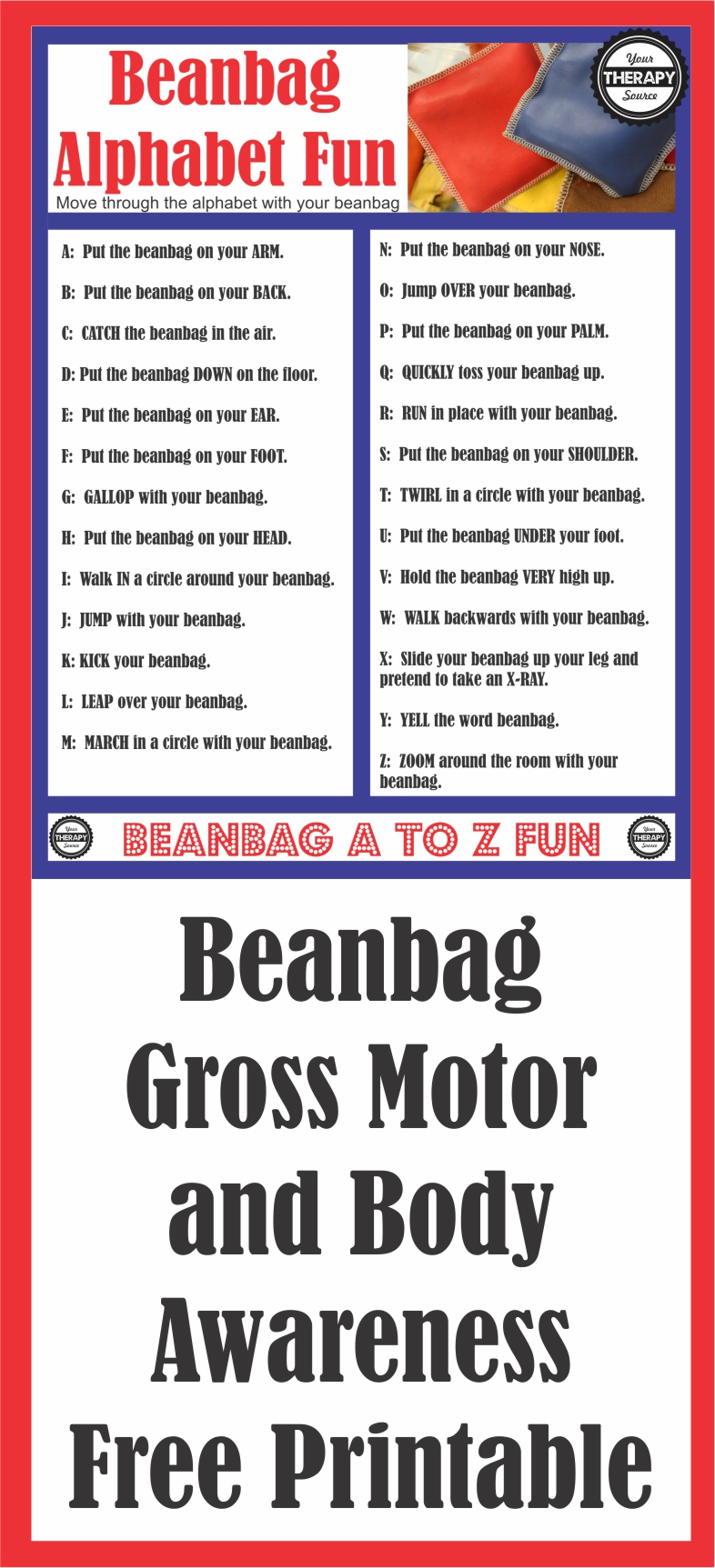Beanbag Alphabet Fun Gross Motor and Body Awareness