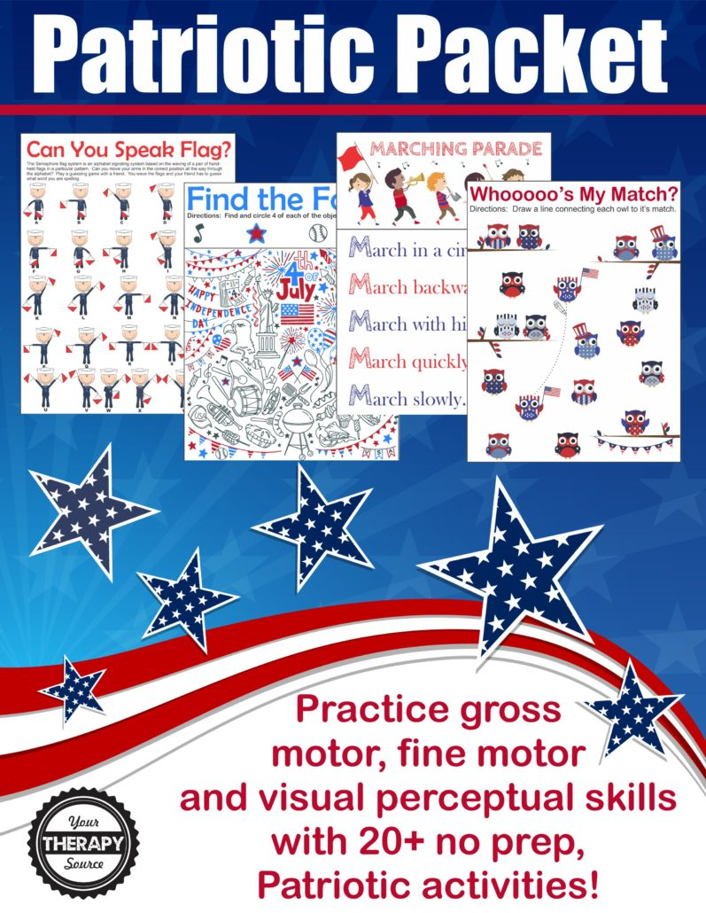 Patriotic Sensory Motor Packet: