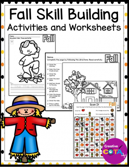 This Fall Variety Pack is a collection of worksheets and activities for all students included those that receive OT services.