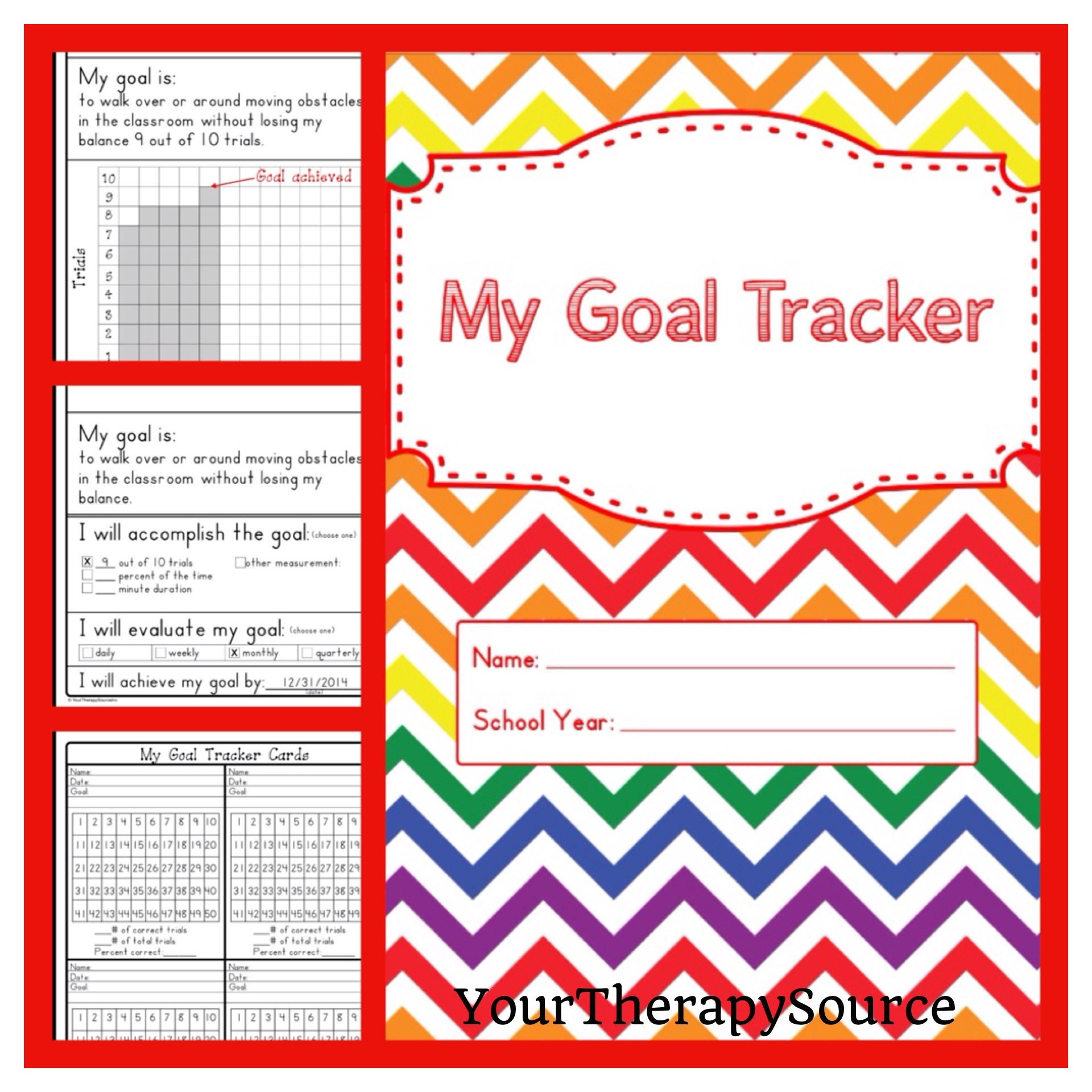 My Goal Tracker student data collection from https://www.yourtherapysource.com/goaltracker.html