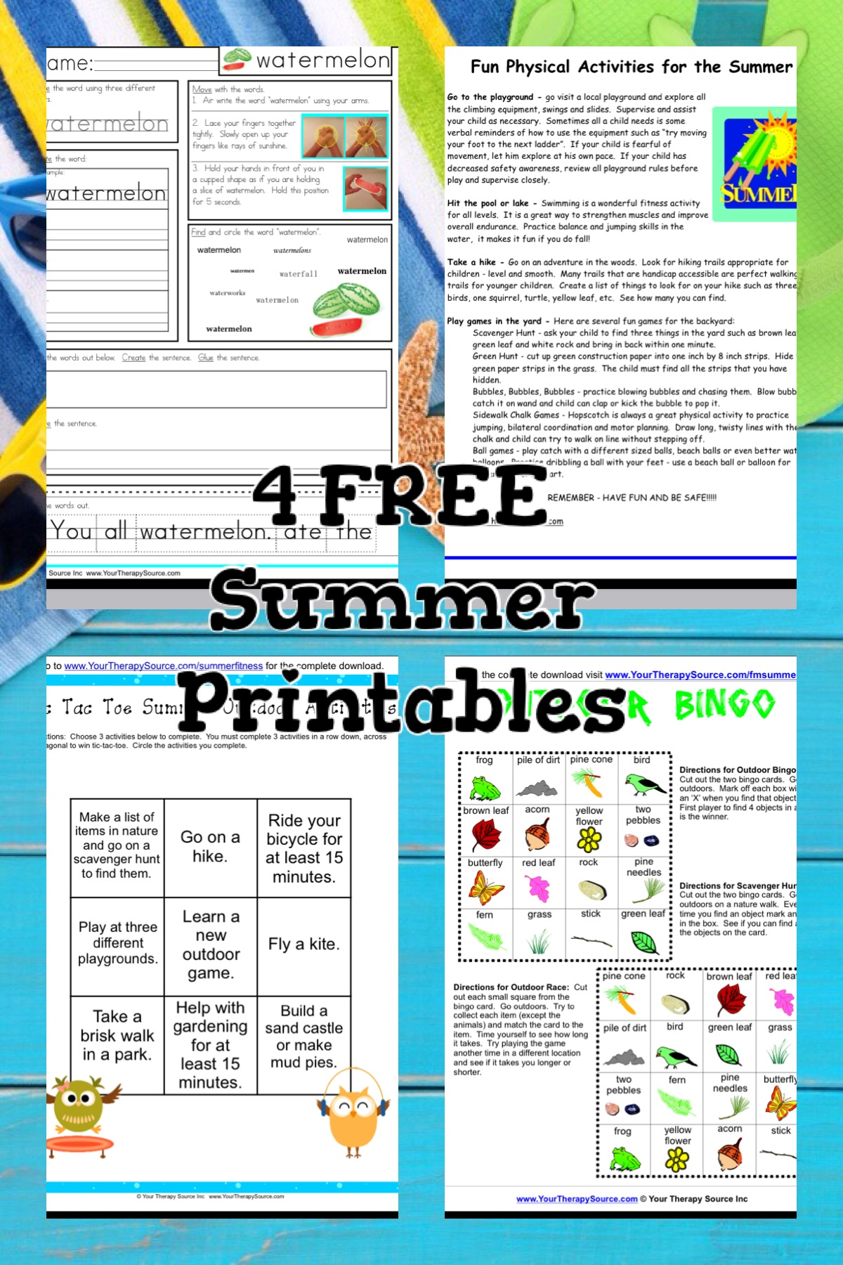 Free Summer Printables for Fine and Gross Motor Skills