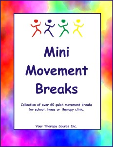 Mini Movements Brain Breaks from https://yourtherapysource.com/minimove.html