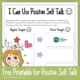 Positive Self Talk for Kids Free Printable from Your Therapy Source