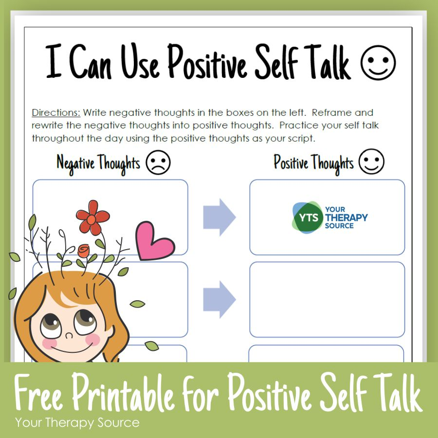 Positive Self Talk For Kids Your Therapy Source