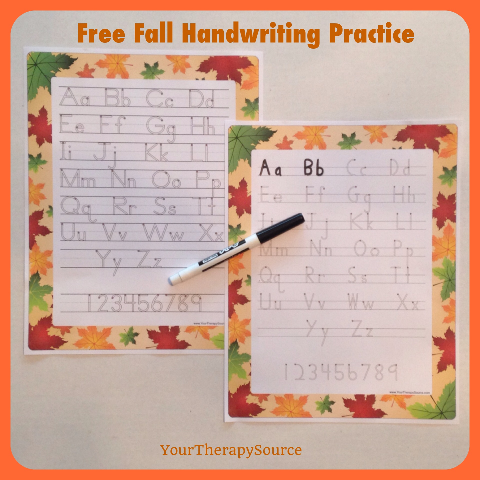 Free Fall Handwriting Practice Pages www.YourTherapySource.com