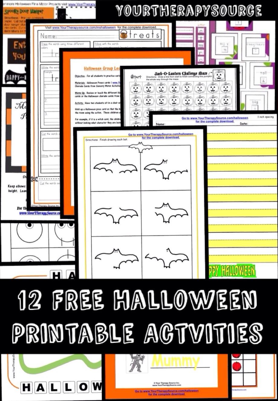 12 Free Halloween Printable Activities - www.YourTherapySource.com ...