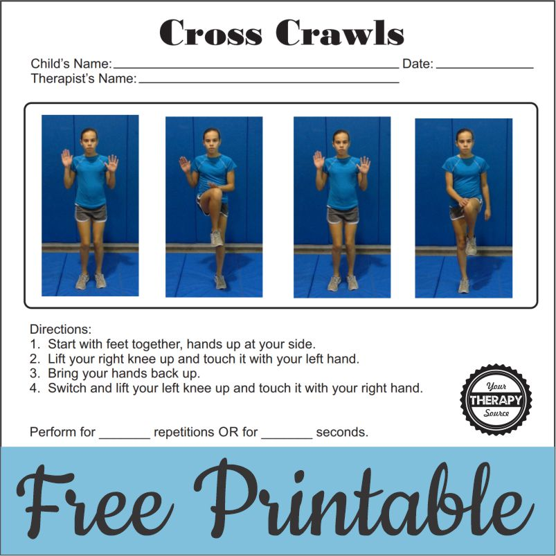 It is an instructional hand out on how to do the Cross Crawl exercise, including a QR code to link to a video demonstration of the exercise.