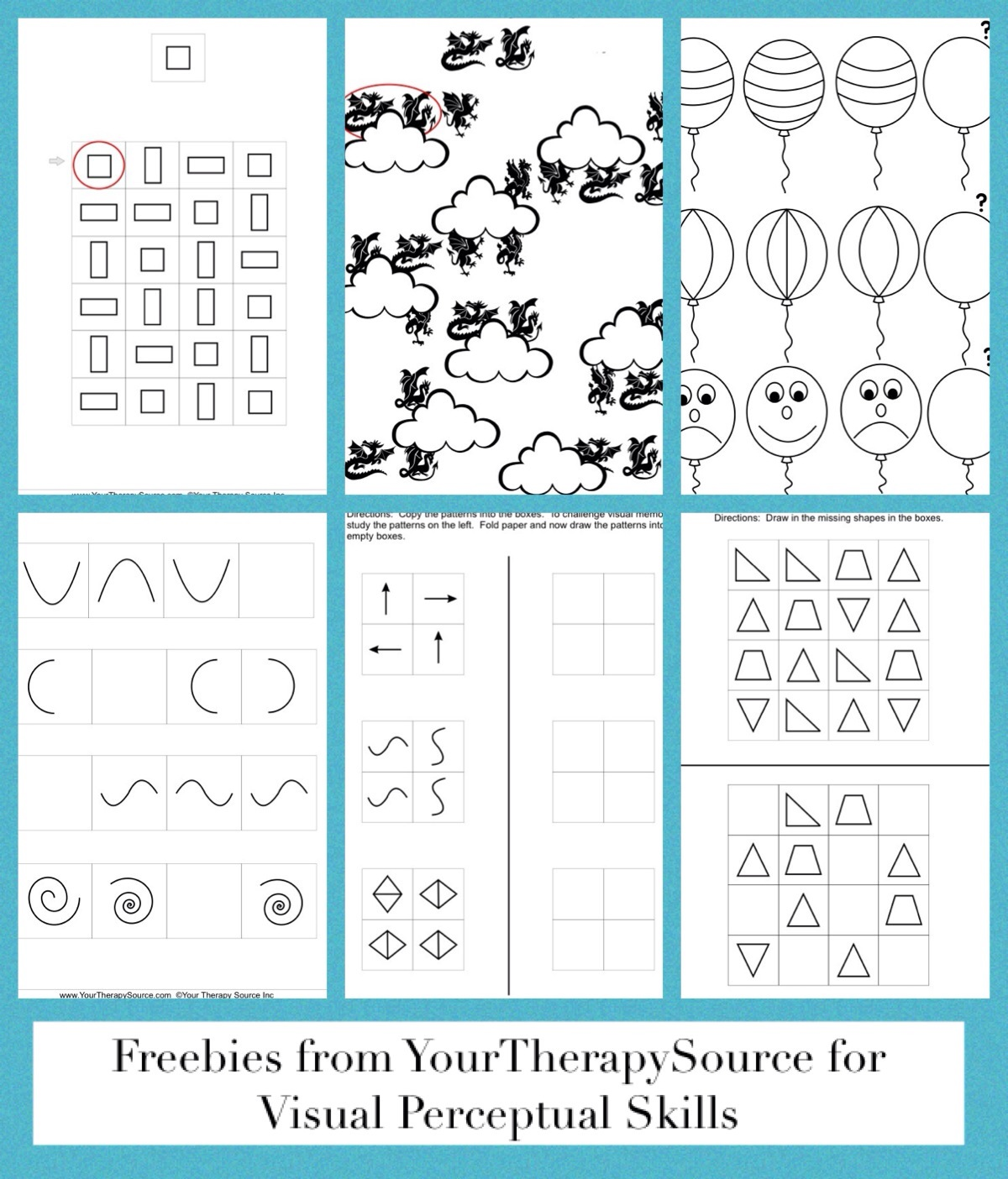 visual perceptual patterns freebie from https://www.yourtherapysource.com/patterns.html