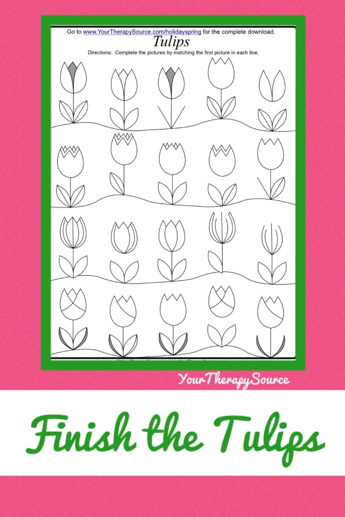 Finish the Picture Visual Motor Activity fromhttps://www.yourtherapysource.com/holidayspringfreebie.html