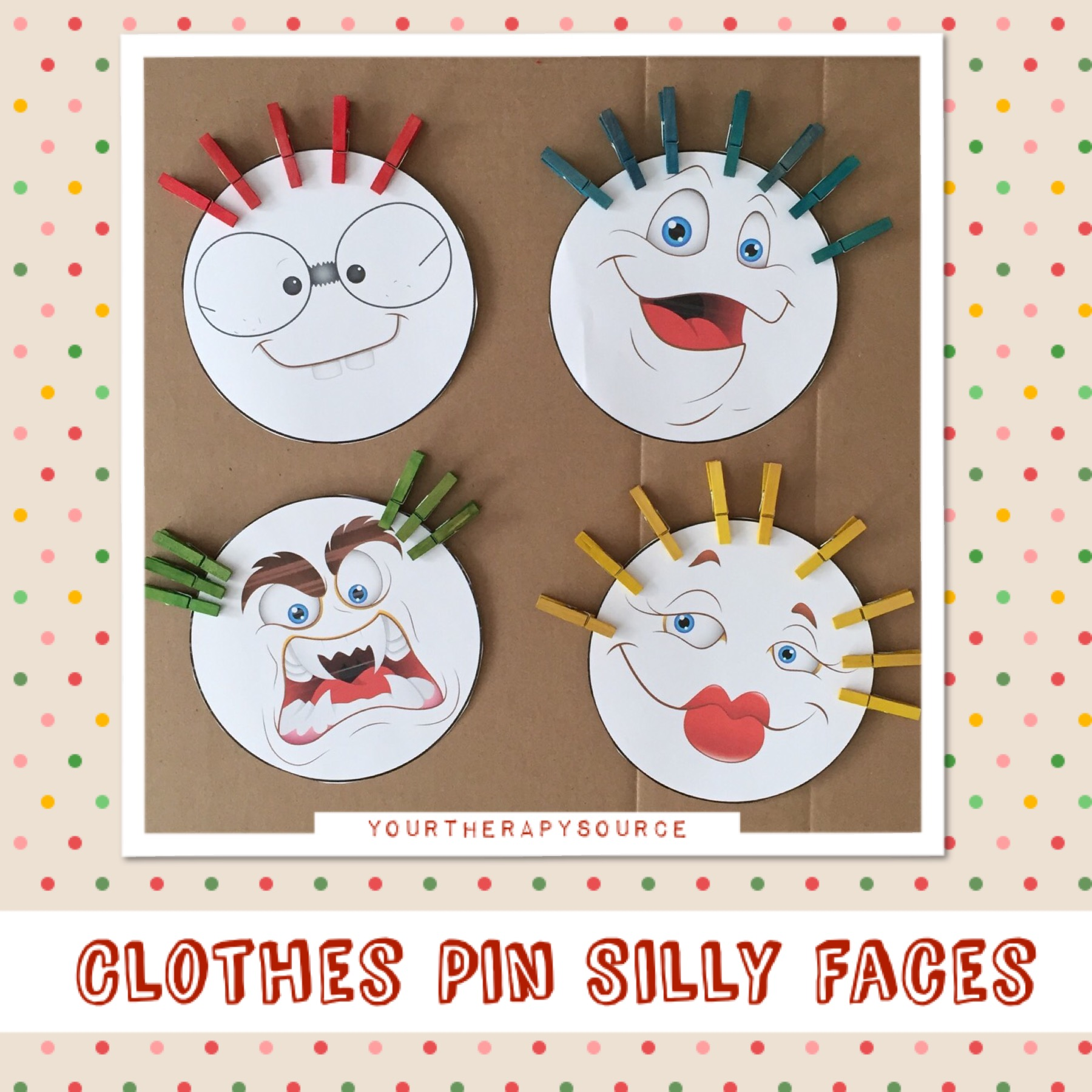 Clothes Pin Silly Faces from https://yourtherapysource.com/freeclothespinfaces.html