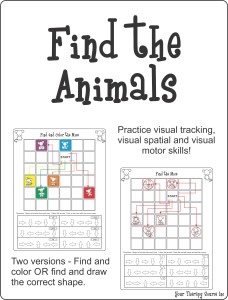 Find and Color the Animals from https://yourtherapysource.com/findanimals.html