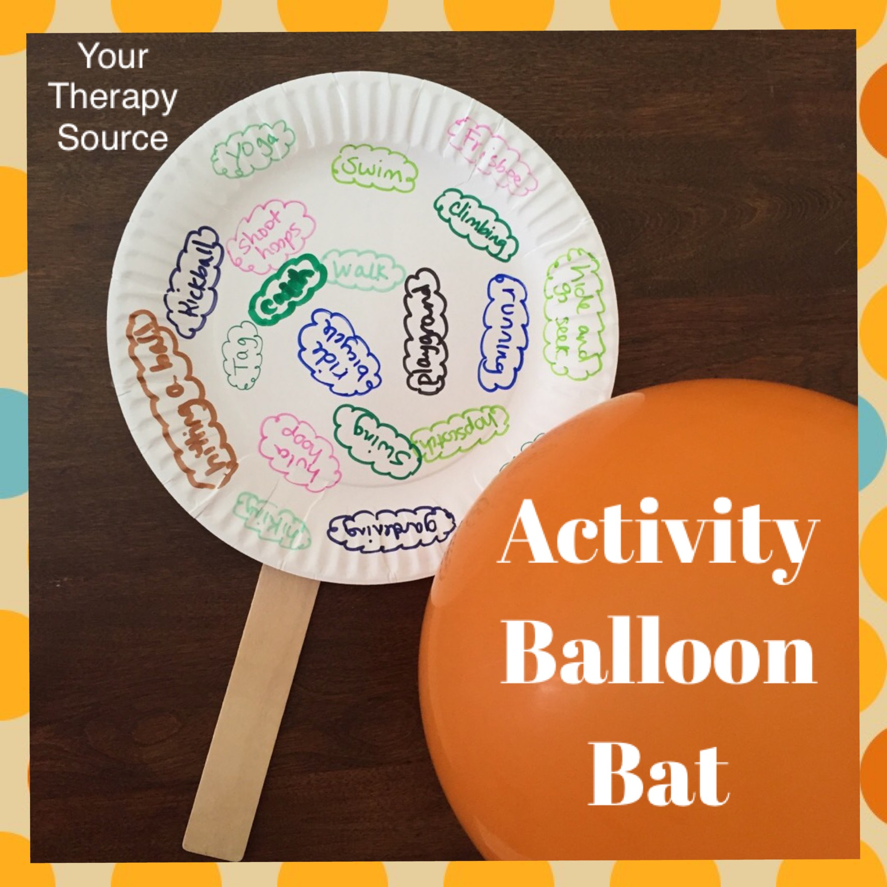 If you need a fun gross motor group activity idea that also includes fine motor skills and coordination skills, this balloon bat is perfect.