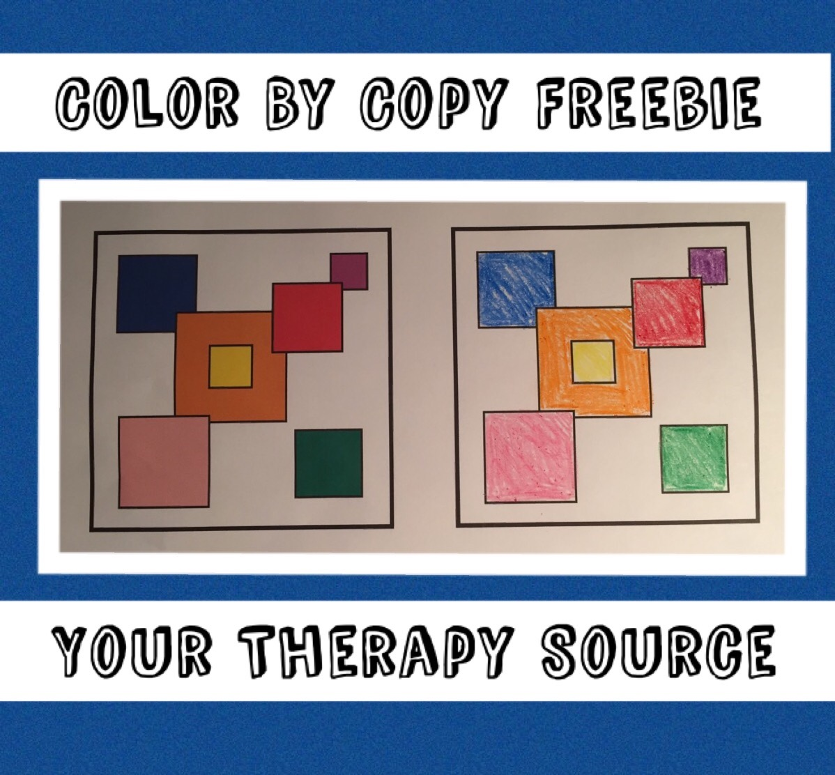 Color By Copy Freebie from https://yourtherapysource.com/freecolorbycopy