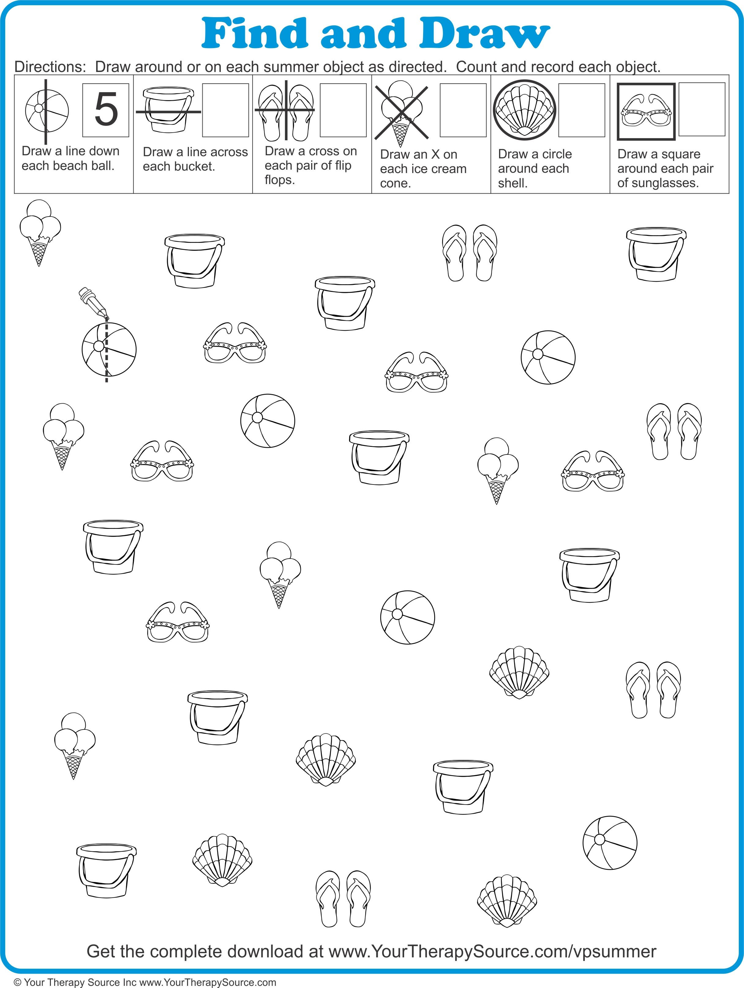 Summer Visual Perceptual Puzzle from https://yourtherapysource.com/vpsummerfreebie.html