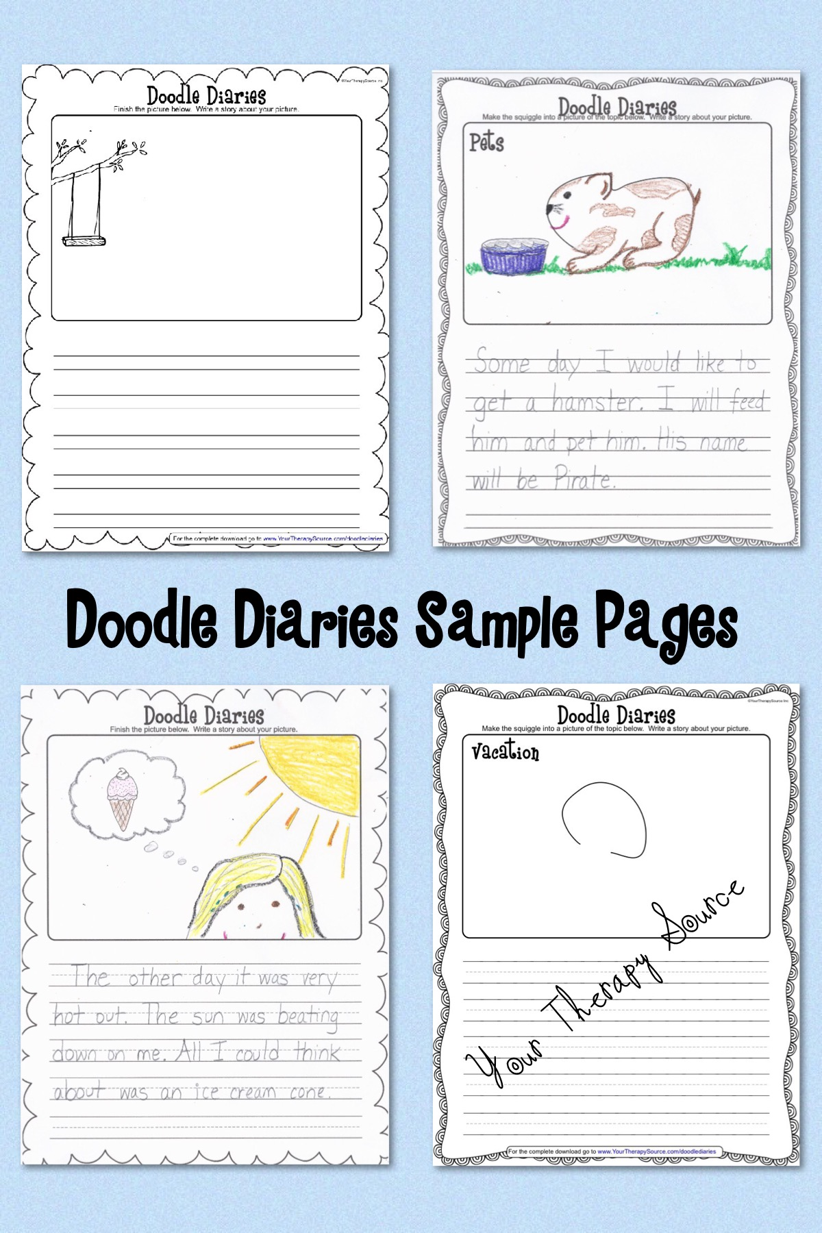 doodle diaries sample pages from https://yourtherapysource.com/doodlediariesfree.html