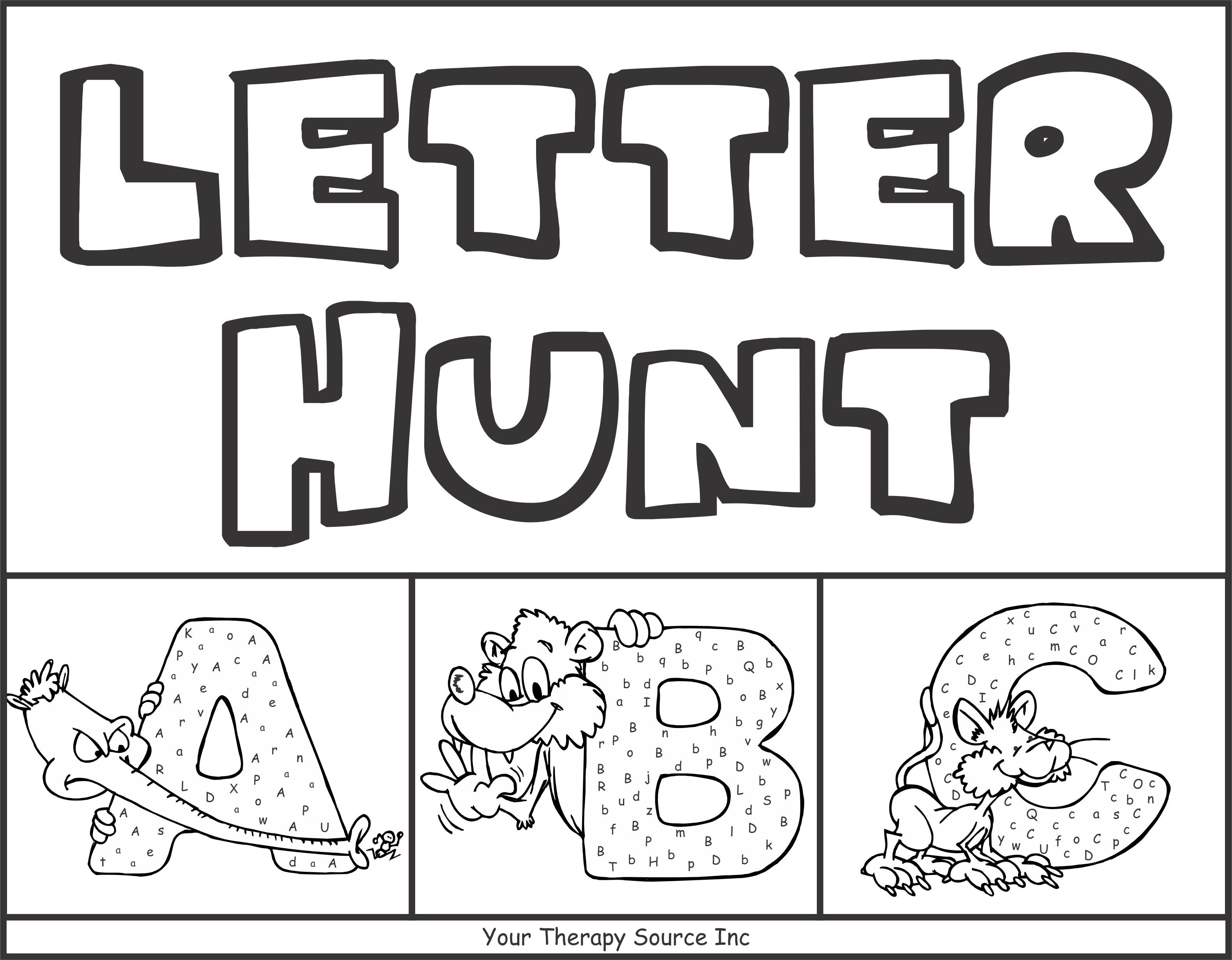 Letter Hunt from https://yourtherapysource.com/letterhunt.html