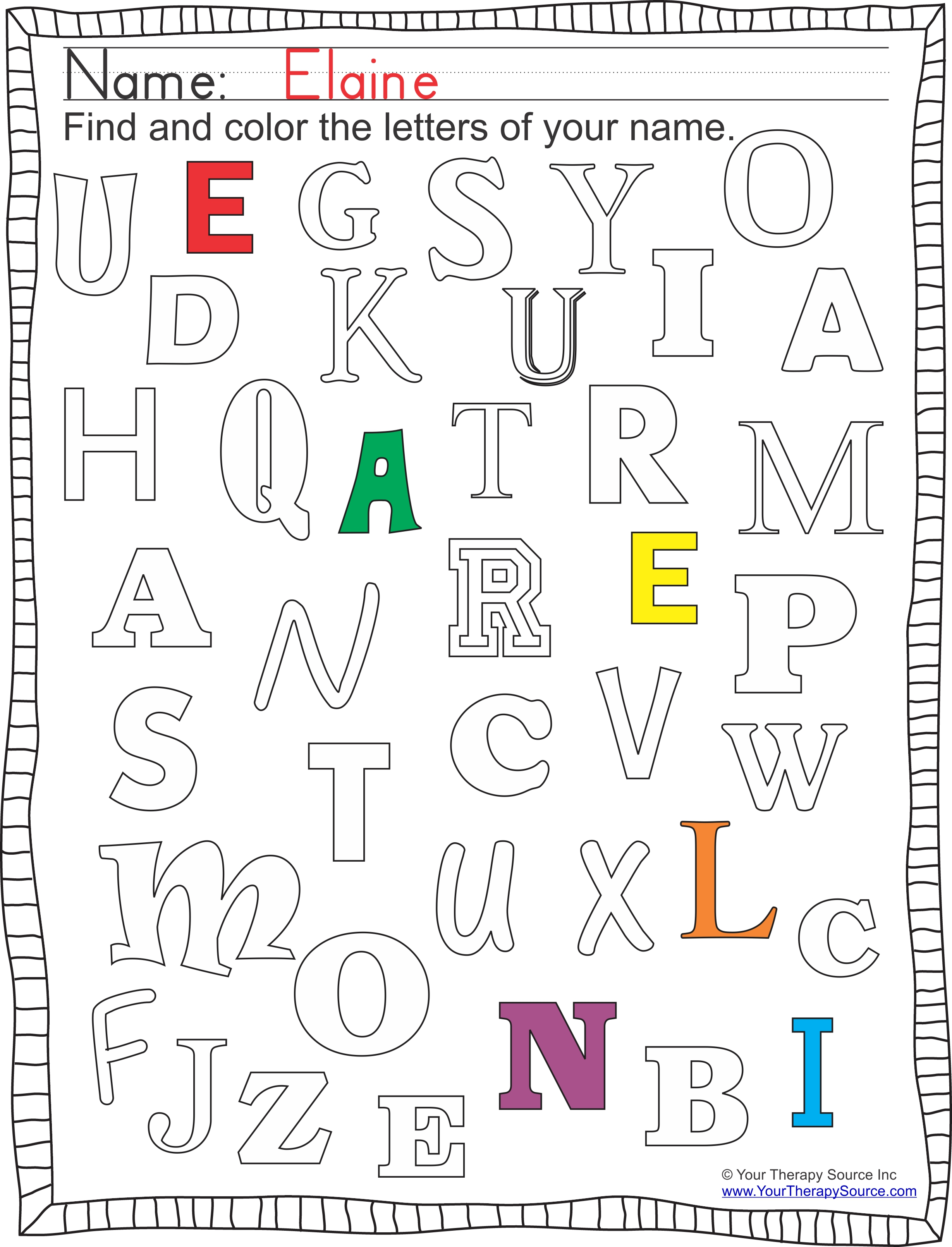 FInd and Color Letters of Your Name from https://yourtherapysource.com/freefindname.html