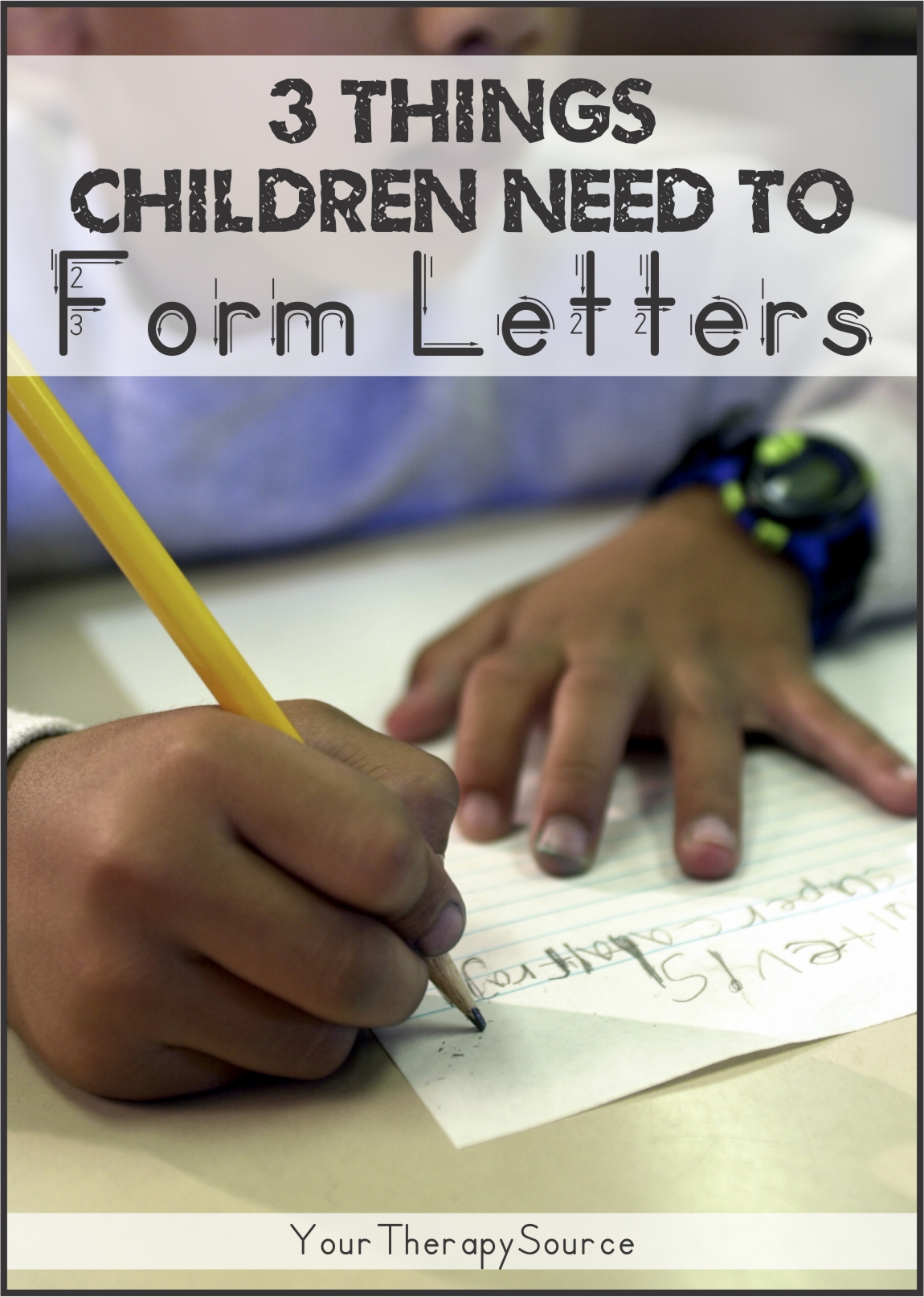 The steps to learning how to write letters for children is actually quite complex. The skill of handwriting requires many motor learning experiences prior to the actual act of writing letters.