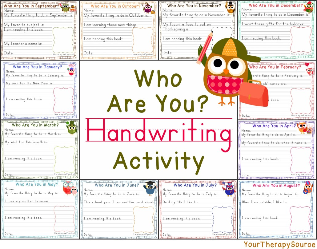 Who are You? Owl Themed Handwriting Activity from https://yourtherapysource.com/whoareyou.html