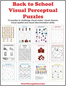 Back to School Perceptual Puzzles from https://yourtherapysource.com/vpschool.html