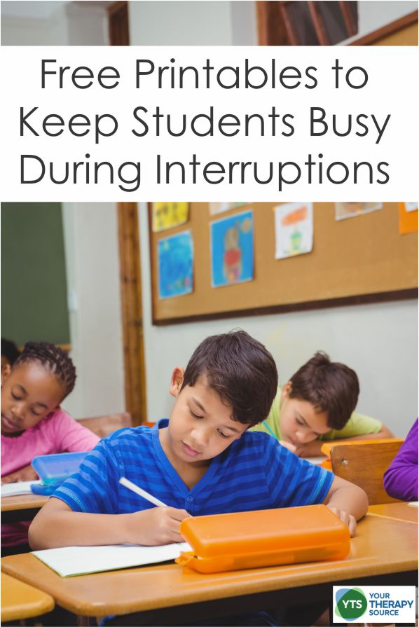 Here are 10 free activities to keep students busy when interruptions occur. Print and throw in your bag of tricks for those emergency moments