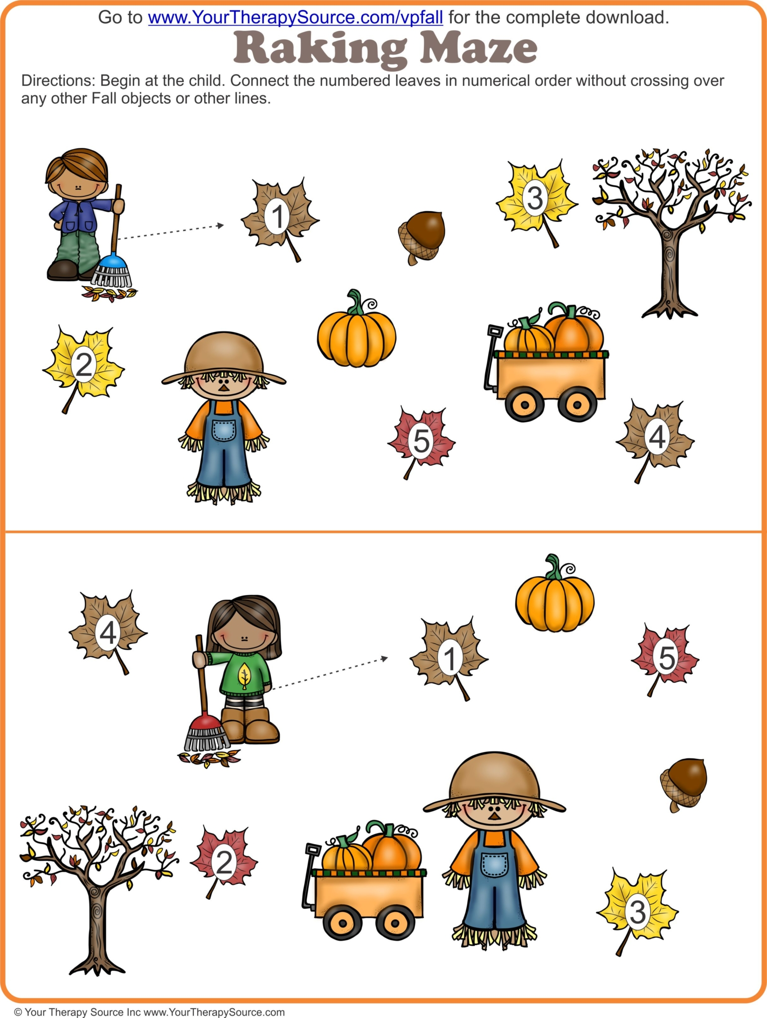 Fall Visual Perceptual Puzzles Freebie from Your Therapy Source - www.YourTherapySource.com/vpfallfreebie