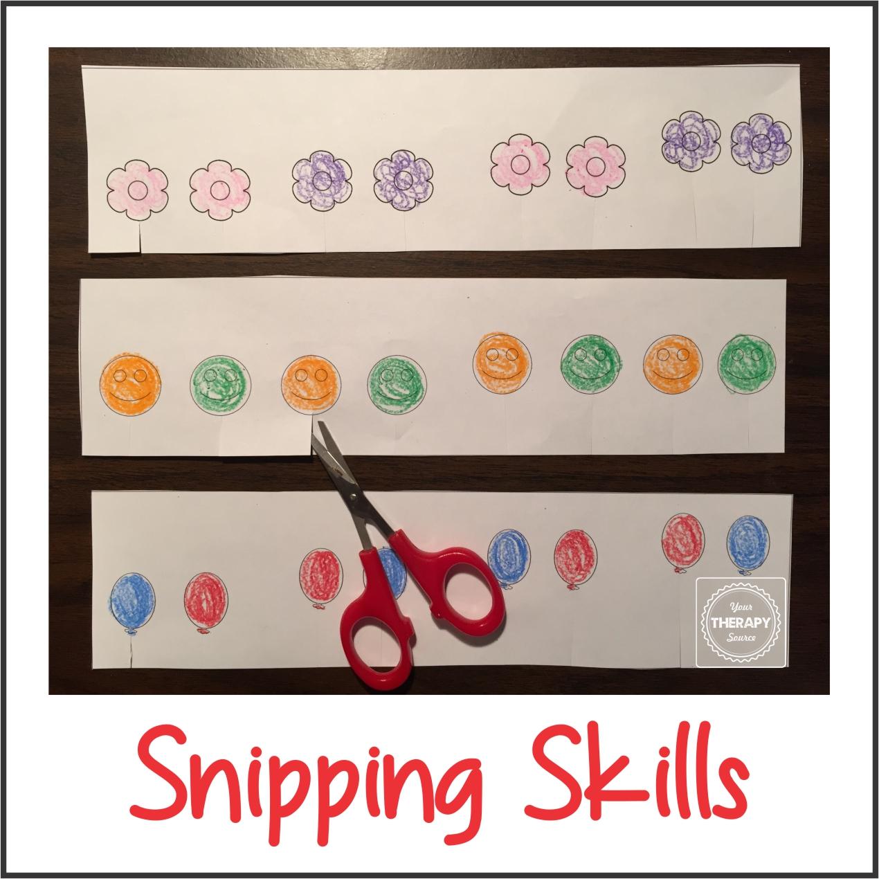 Scissor Snipping Skills Freebie from www.YourTherapySource.com