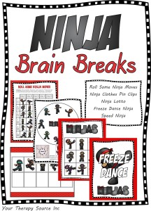 Ninja Brain Breaks from Your Therapy Source at https://yourtherapysource.com/ninja.html