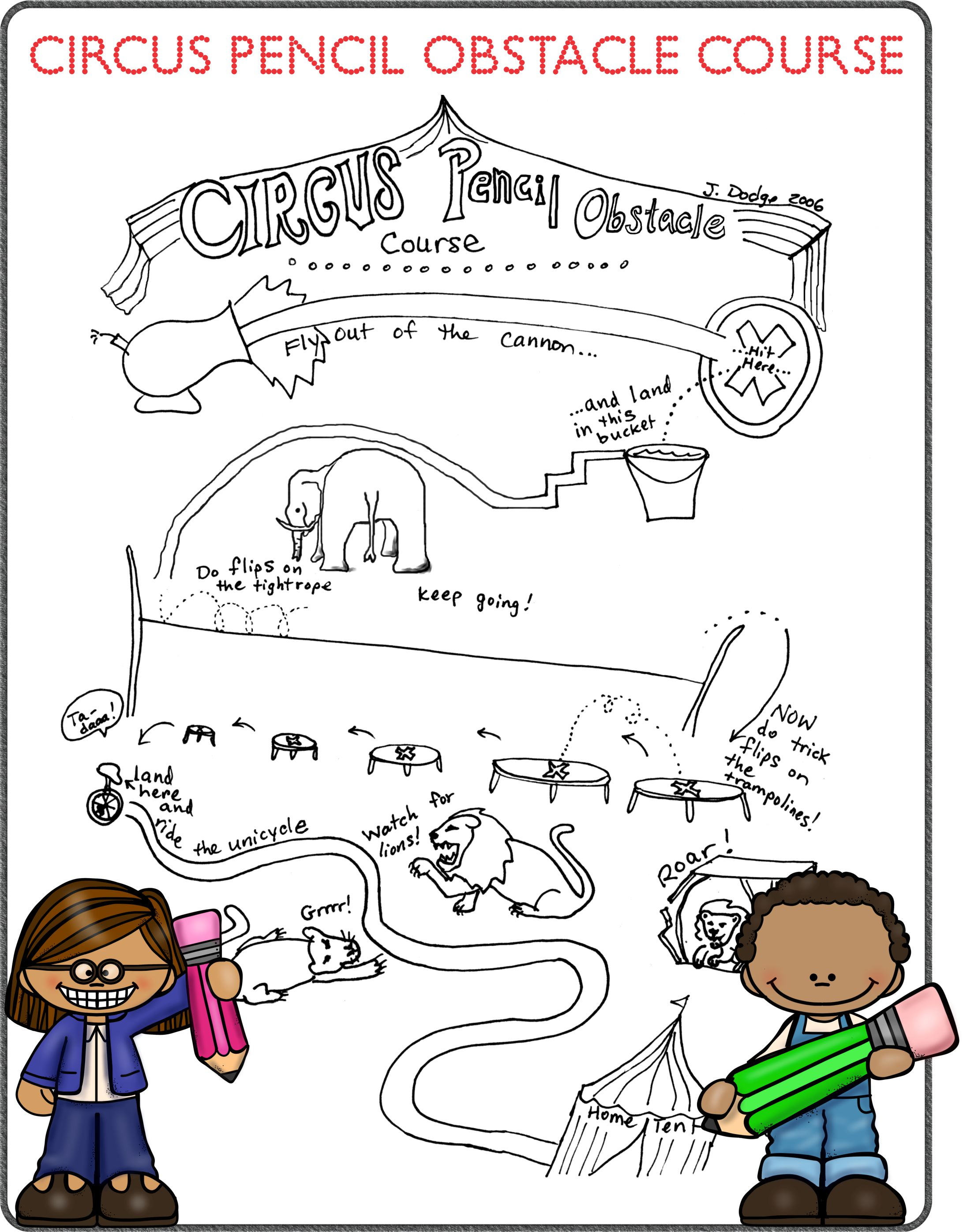 Circus Pencil Obstacle Course Freebie from Your Therapy Source