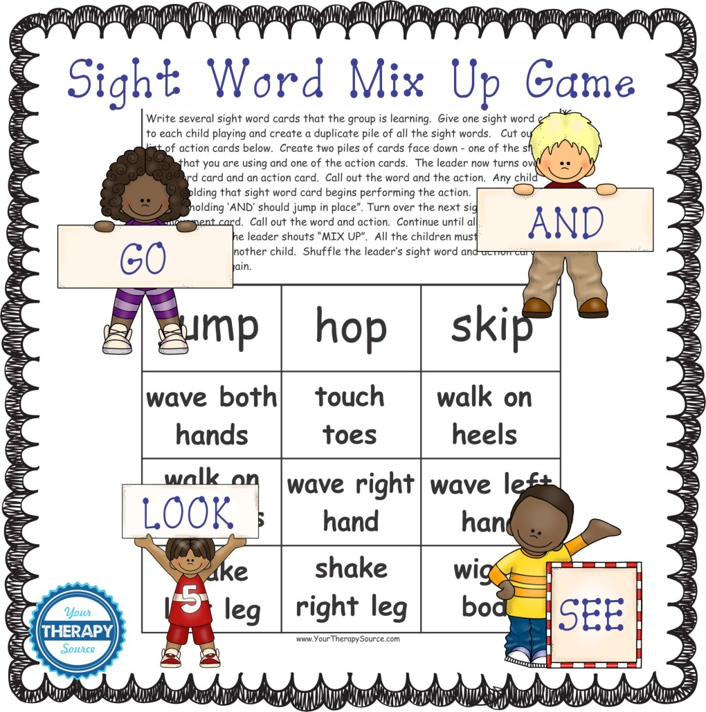 sight word mix up game from Your Therapy Source