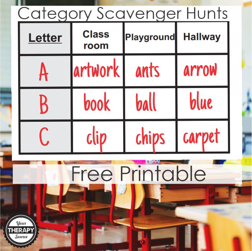 This FREE Scavenger Hunt Categories printable is a ready to go, FUN activity for your students.