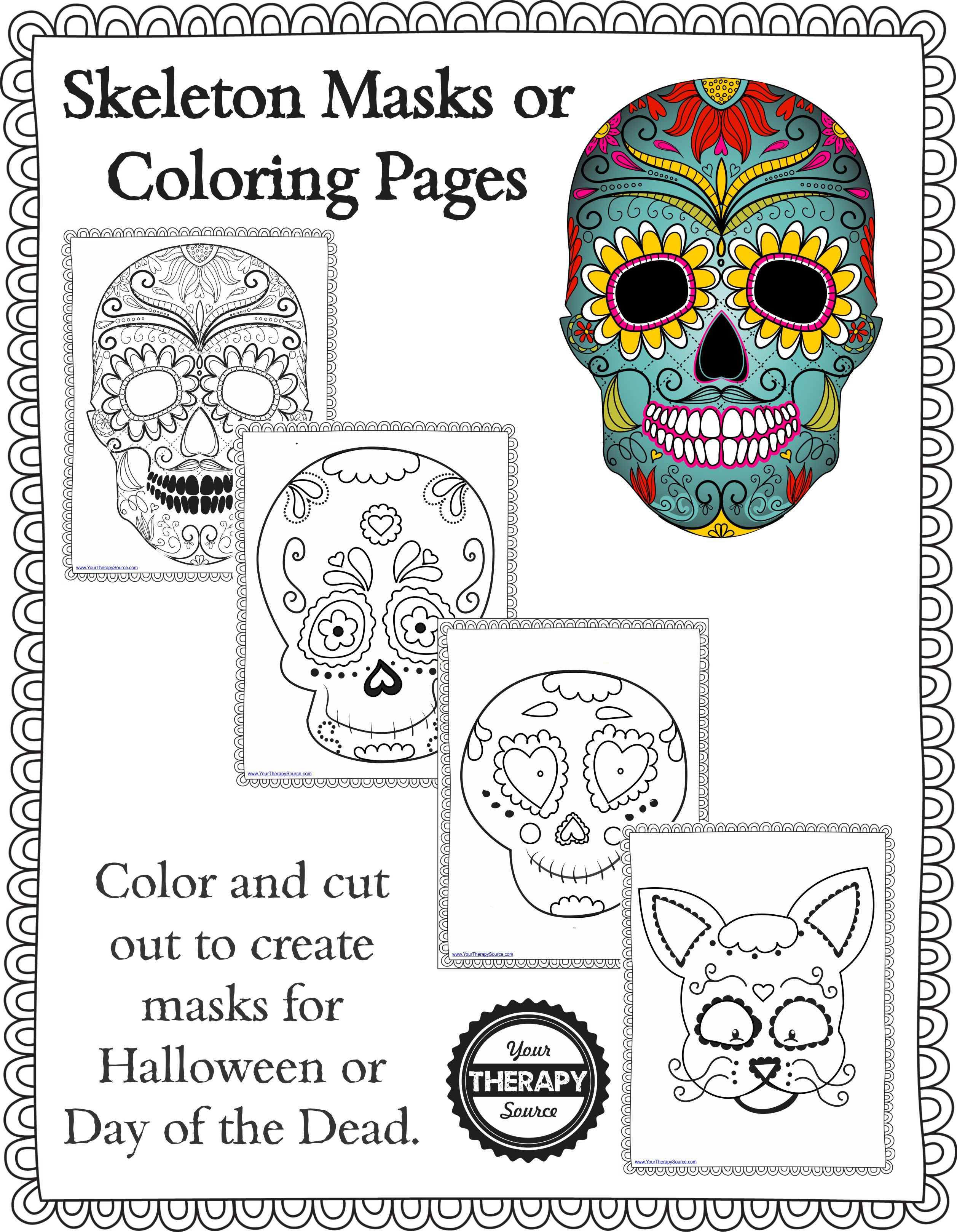 Day of the Dead Masks Sugar Skulls Free Printable | Paper Trail Design | 3234x2514