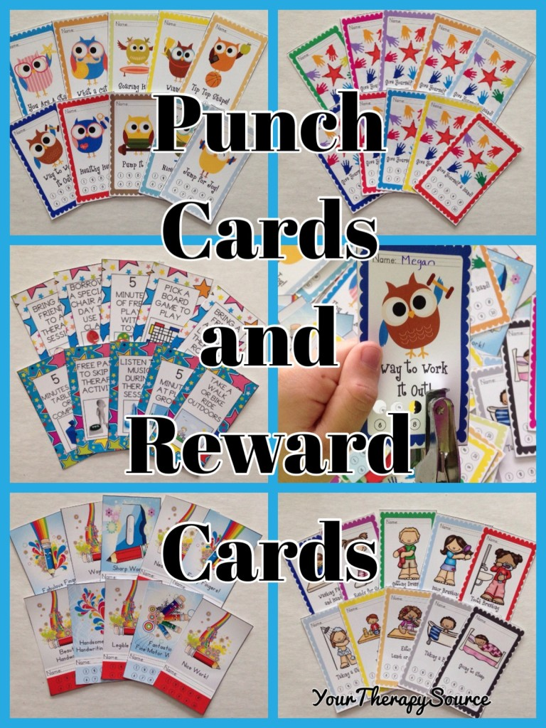 Punch and Reward Cards from https://www.yourtherapysource.com/punchcards.html