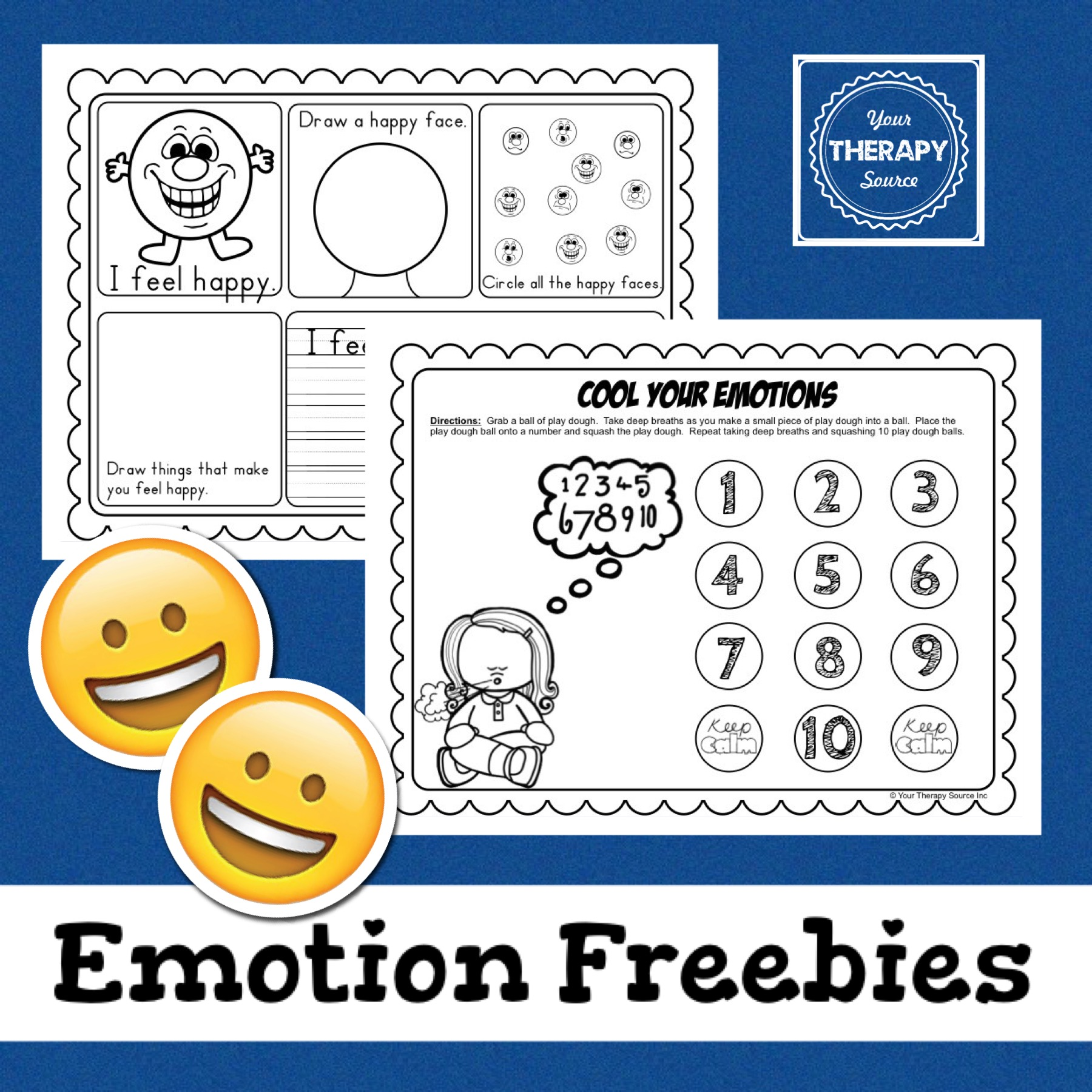 Emotions Freebie from https://yourtherapysource.com/emotionsfreebie