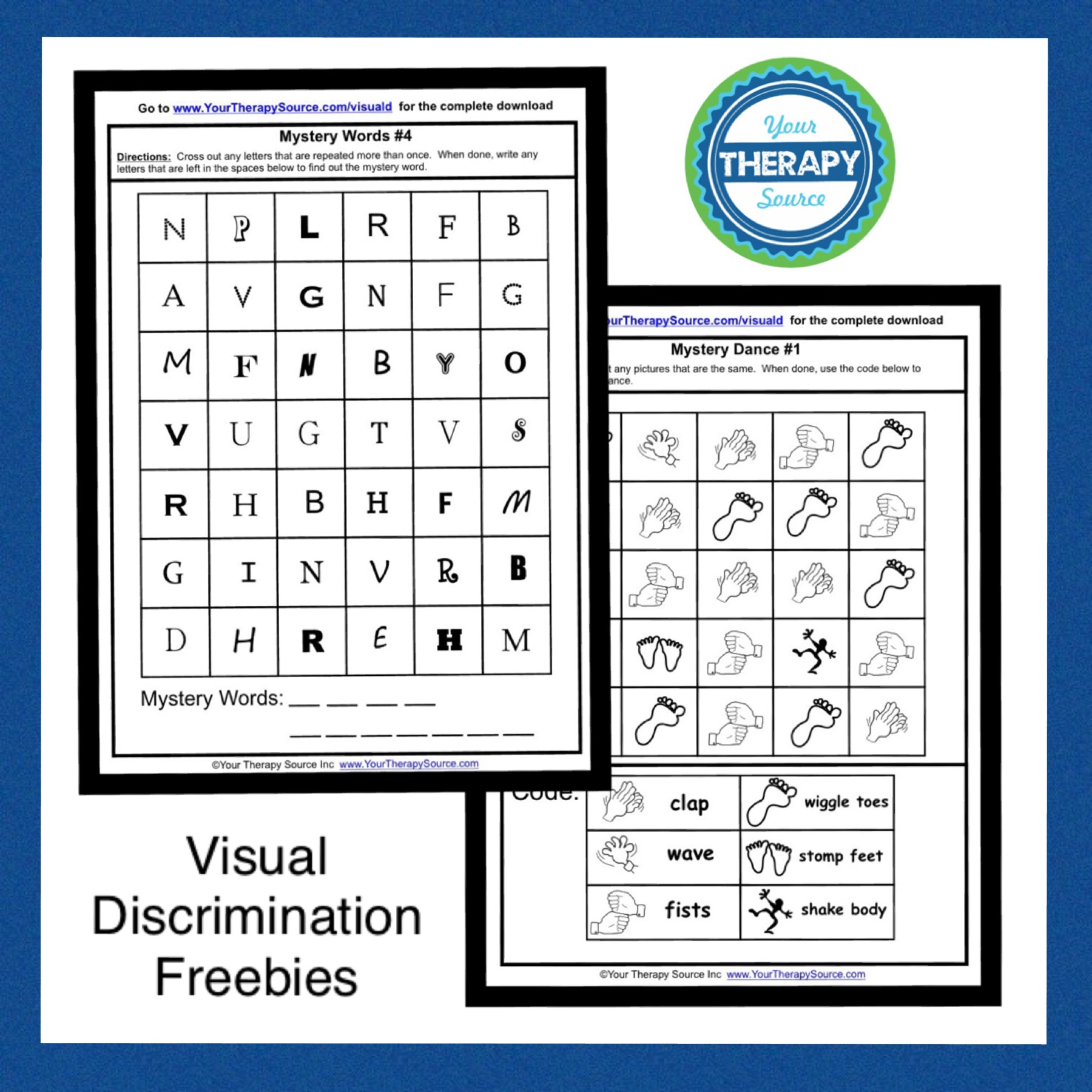 Visual Discrimination Freebies From Yourtherapysource Your