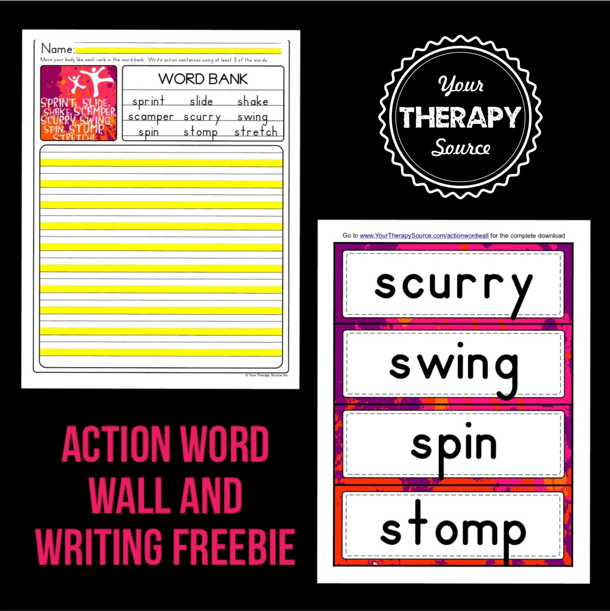 Action word wall freebie