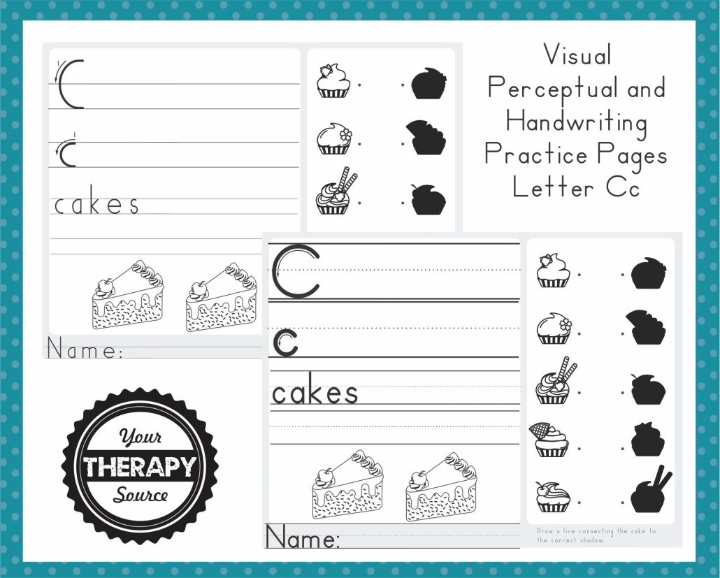 Visual Perceptual and Handwriting Practice Pages Freebie