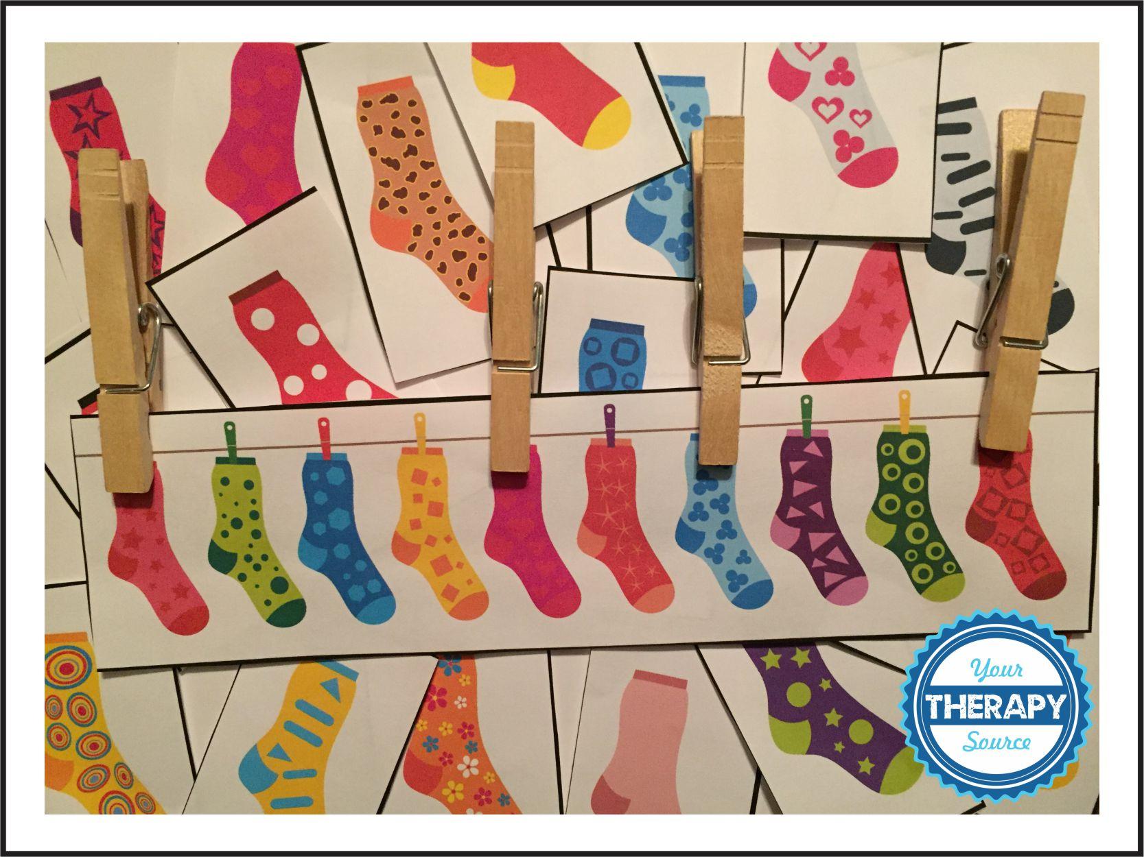 Visual Perceptual Clothes pin sock Game
