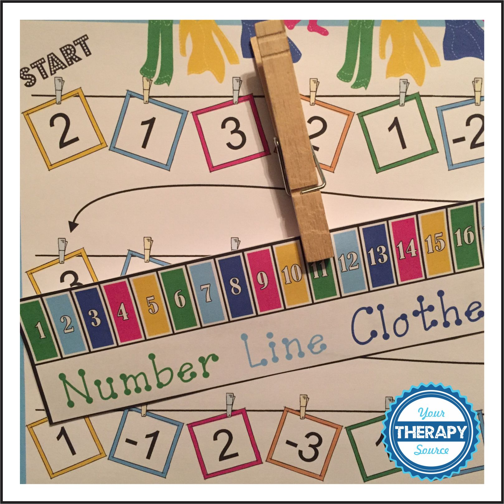 Visual Perceptual Clothes pin Number line Game