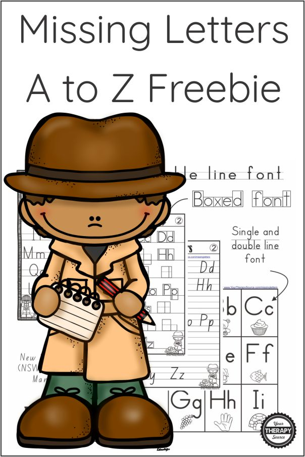 This FREE packet of Missing Letters A to Z sample pages is from the complete Missing Letter Game packet created by Your Therapy Source.