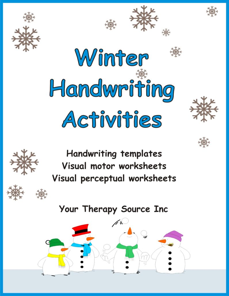 FREE sample pages from Winter Handwriting Activities